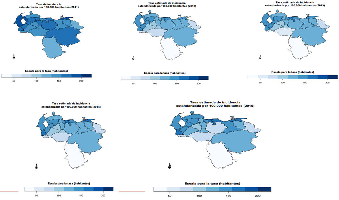 Total incidencia estandarizada por 100.000 habitantes 2011, 2012, 2013, 2014 y 2015