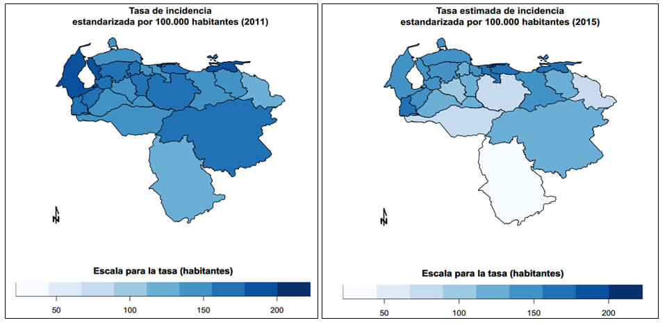 Total incidencia estandarizada por 100.000 habitantes 2011 y 2015